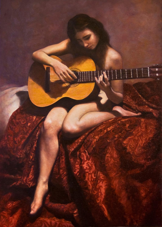 """""""Amorina alla chitarra"""", olio su tela, 50x35cm, 2010"""