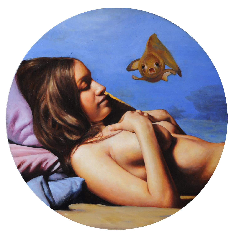 """""""Aquarium, olio su tela"""", diam. 50cm, 2015"""
