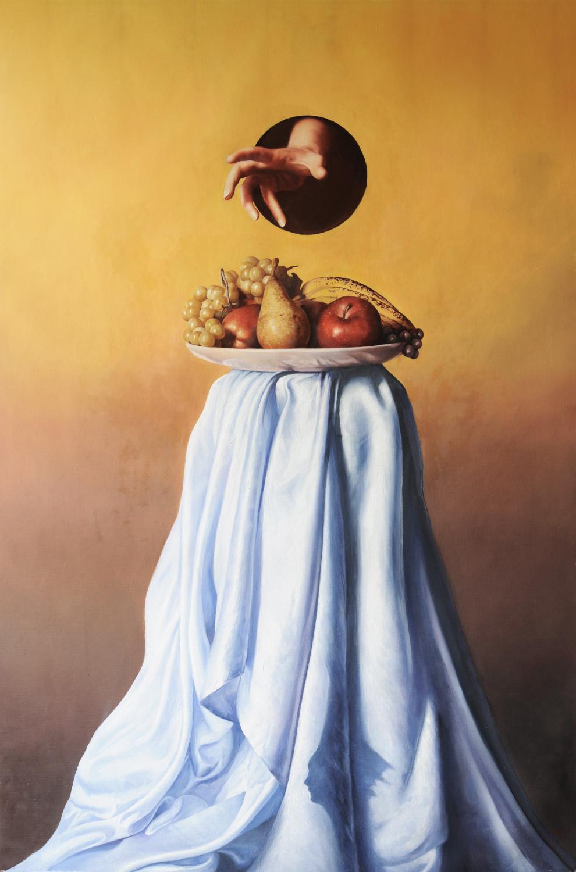 """""""Fa che il cibo sia la tua medicina e che la medicina il tuo cibo"""", olio su tela, 120x80cm, 2015"""