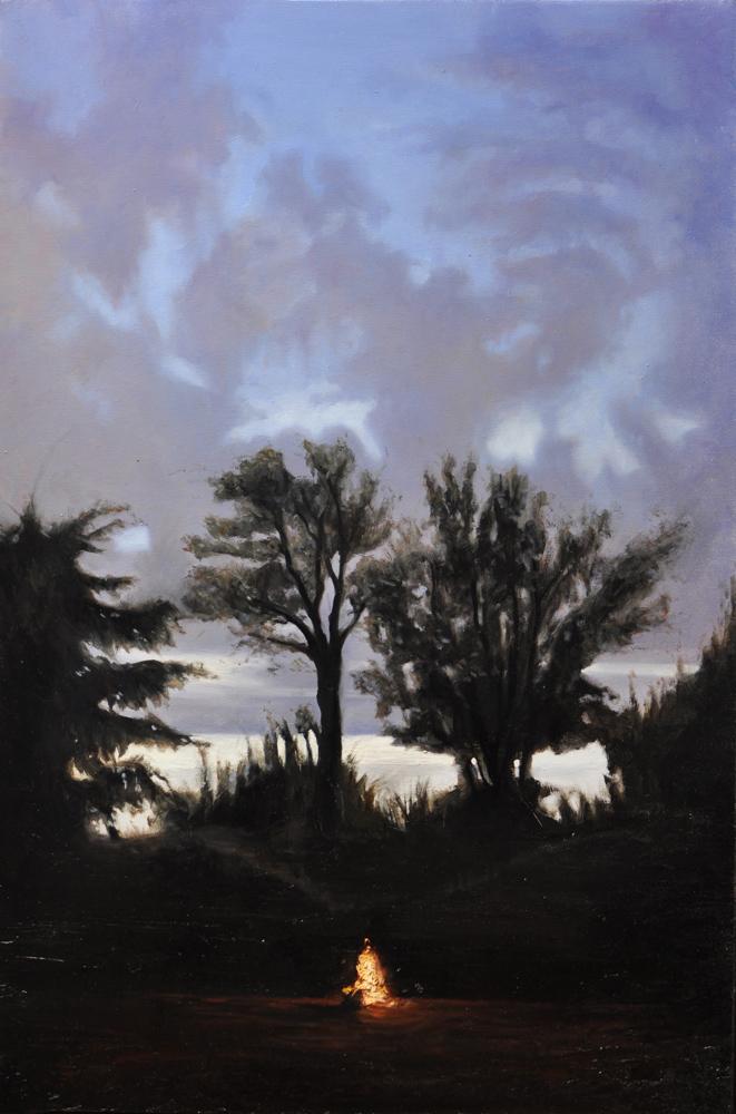 """""""Il fuoco in inverno"""", olio su tela,100x70cm, 2013"""