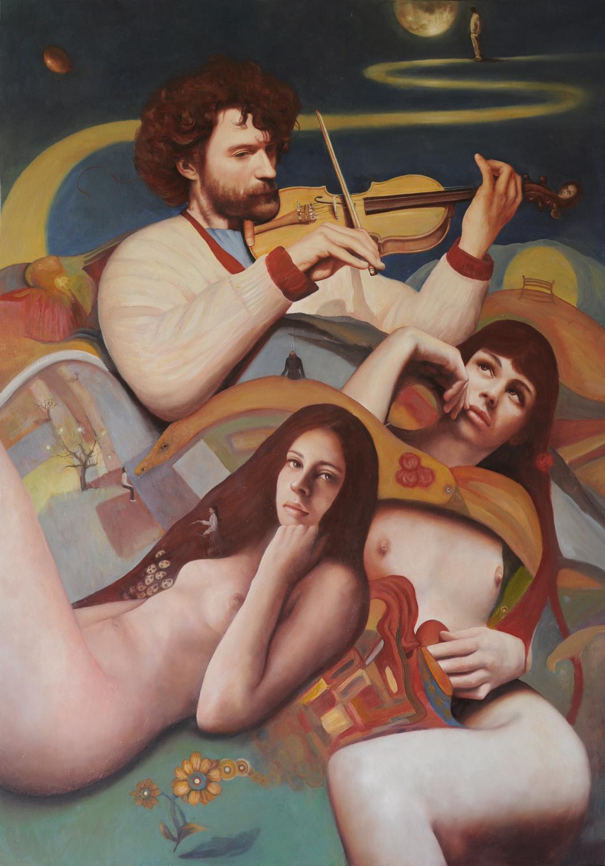 """""""Il violinista e altri racconti"""", olio tela, 100x70cm, 2015"""