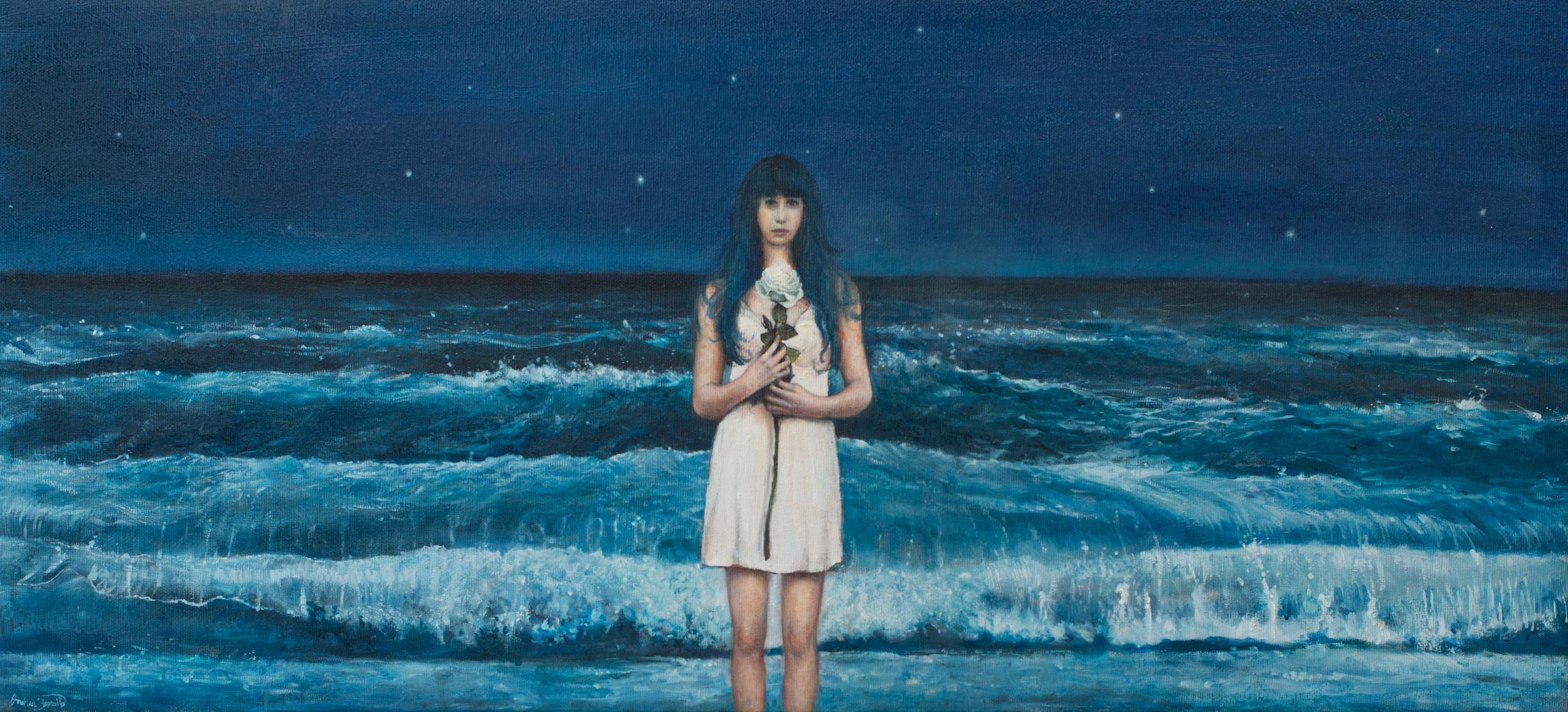 """""""L'etoile dans la nuit"""", olio su tela, 32x70cm, 2017"""
